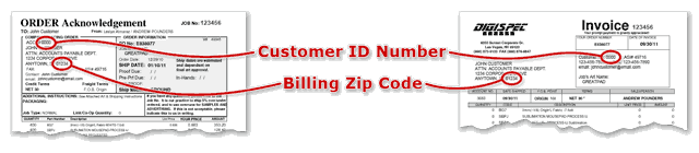 Where to Locate Customer Number and Billing Zip Code